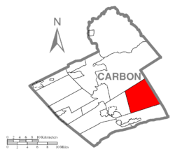 Location of Towamensing Township in Carbon County