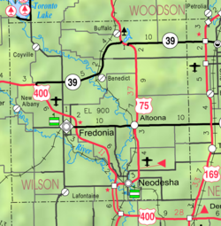 KDOT map of Wilson County (legend)