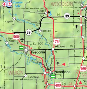 Fredonia, Kansas - Image: Map of Wilson Co, Ks, USA
