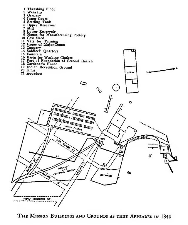 File map showing the arrangement of the mission santa for Mission santa barbara floor plan