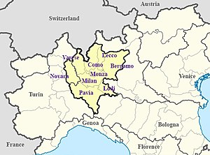 Milan metropolitan area - Milan metropolitan area within northern Italy, as identified by OECD.