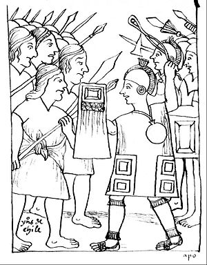 Incas in Central Chile - Huamán Poma de Ayala's drawing of the confrontation between the Mapuches (left) and the Incas (right)