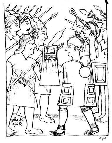 Huaman Poma de Ayala's picture of the confrontation between the Mapuches (left) and the Incas (right) MapvsInc.JPG