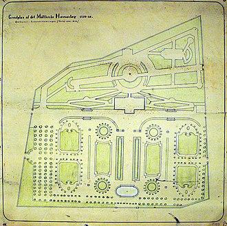 Marienlyst Castle - Image: Marienlyst Garden Plan 1759 60