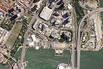 Marina Bay Street Circuit - Satellite view of the course, as it appears while the roads are open to the public