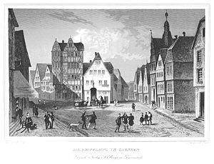 Giessen - Image: Marktplatz in Giessen (gezeichnet von P. Weber)