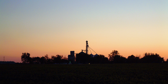 Marshfield, Indiana - Looking southwest toward town at dusk