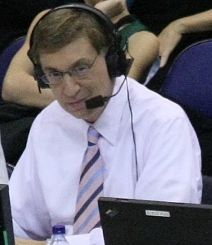 Marv Albert - Albert calls a game for TNT in December 2008.