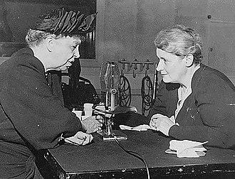 Irish American journalism - Mary Margaret McBride (right) interviews First Lady Eleanor Roosevelt.