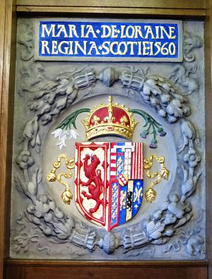 Mary of Guise - Mary's coat of arms showing Scotland impaled with Lorraine in South Leith Parish Church.