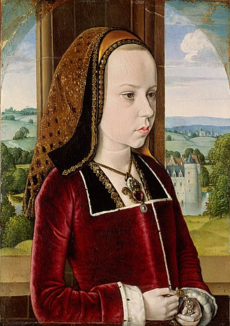 Margaret of Austria, Duchess of Savoy - Portrait of Margaret aged ten by Jean Hey, c. 1490