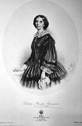Mathilde Marchesi-Graumann, Lithographie von Adolf Dauthage, 1858 (Quelle: Wikimedia)