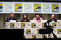 Matt Smith, Jenna Coleman, Steven Moffat & David Bradley (9362649445).jpg