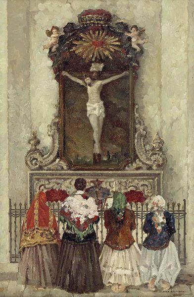File:Max Baumann Vier betende Frauen vor einem Kreuzaltar.jpg