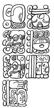 Fig. 59. Part of the inscription in the Temple of the Inscriptions, Palenque, showing a number composed of seven periods.