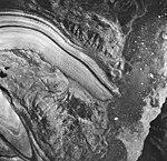 McBride and Riggs Glacier, tidewater glacier terminus in iceberg filled water, August 24, 1963 (GLACIERS 5645).jpg