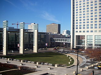McCormick Place - McCormick Square flanked by the West Building (left) and Hyatt Regency Hotel