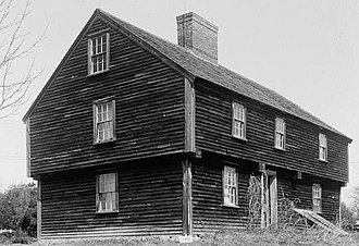 Garrison (architecture) - McIntire Garrison House (1707) in York, Maine, a prototype of the garrison style. The overhang in timber framing is called jettying.