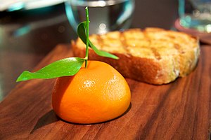 Dinner by Heston Blumenthal - Meat fruit, a chicken liver mousse created to look like a mandarin orange