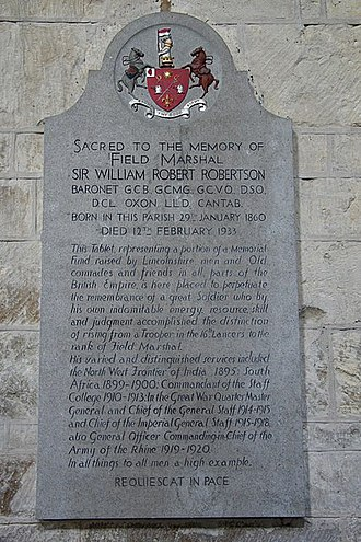 Welbourn - Memorial to Field Marshal Sir William Robertson in the parish church