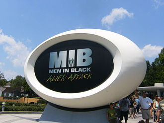 Men in Black: Alien Attack - Main sign at the front of the attraction