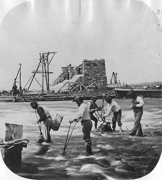 File:Men destroying coffer dam crib, Victoria Bridge, Montreal, QC, 1859.jpg