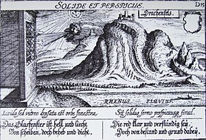 Drachenfels (Siebengebirge) - The Drachenfels in 1624 by Matthäus Merian. The slide used to transport the rock from the quarry to the Rhine is shown, as is the (now disappeared) Burg Wolkenburg and an intact Burgfried. The engraving is an advertisement for glass windows