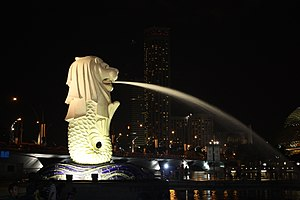 Photo of the Merlion in Merlion Park Singapore...