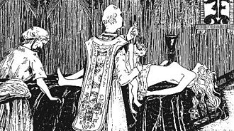 La Voisin - Catherine Monvoisin and the priest Étienne Guibourg are shown performing a black mass for Madame de Montespan (lying on the altar) in an 1895 engraving by Henry de Malvost.
