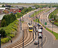 Metrolink Tram on Lord Sheldon Way, 4479802 David Dixon.jpg
