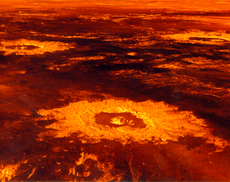 Impact craters on the surface of Venus (image reconstructed from radar data) 隕石坑 s 表面嘅金星 (從雷達資料重建嘅圖像)