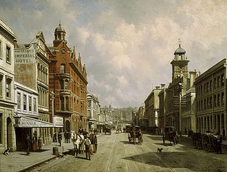 Auckland - Queen Street (c.1889); painting by Jacques Carabain. Most of the buildings depicted were demolished during rampant modernisation in the 1970s.