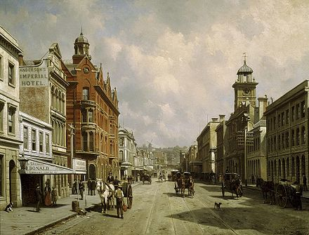Queen Street (c.1889); painting by Jacques Carabain. Most of the buildings depicted were demolished during rampant modernisation in the 1970s. Mid Queen Street.jpg