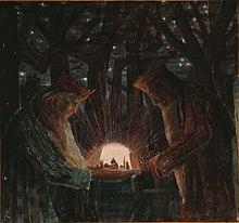 Иллюстрация 1909 года, изображающая королей в темном лесу