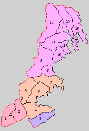 Motoyoshi District, Miyagi - 1. Nusazaki; 2. Yokoyama; 3. Jusanhama; 4. Tokura; 5. Iriya; 6. Motoyoshi; 7. Utstsu; 8. Koizumi; 9. Mitake; 10. Oya; 11. Hashigami; 12. Matsuiwa; 14. Kesennuma; 15. Shishiori; 16. Karakuwa; 17. Oshima; Purple = Ishinomaki City; Red= Tome City; Orange = Minamisanriku Town; Violet = Kesennuma City