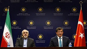 Iran–Turkey relations - Iranian Foreign Minister Mohammad Javad Zarif and Turkish Foreign Minister Ahmet Davutoğlu during a joint press conference in Ankara, 2013.