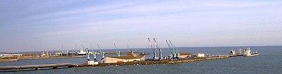 The industrial harbour of La Pallice, as seen from the bridge to Ile de Ré.