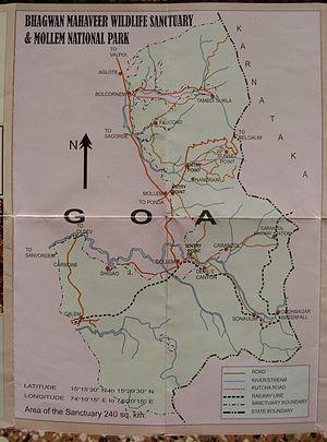 Bhagwan Mahaveer Sanctuary and Mollem National Park - Map of Bhagwan Mahaveer Sanctuary and Mollem National Park