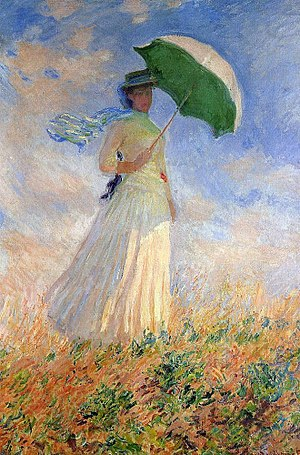 Woman with a Parasol - Madame Monet and Her Son - Image: Monet woman with a parasol right