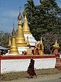 Monk Passes Pagoda - Sittwe - Rakhaing (Arakan) State - Myanmar (Burma) (12232268866).jpg