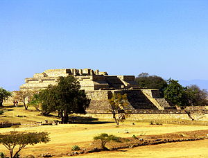 Monte Albán - The west side platform at the Monte Alban pyramid complex.