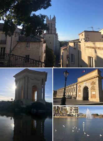 Montpellier - Clockwise from top: Cathedral of Saint Peter and Saint-Loup Peak; Triumphal Arch; Port Marianne's lake; Peyrou water castle.