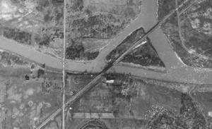 Montrose Swing Bridge - Aerial view of the bridge, circa 1934.