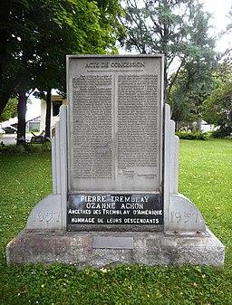 Monument de l acte de concession a Pierre Tremblay
