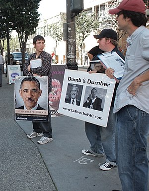 Worldwide LaRouche Youth Movement - LaRouche PAC posters, September 2009, in Seattle, Washington.