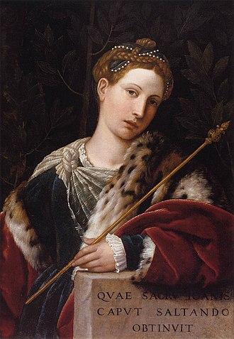 Tullia d'Aragona - Tullia d'Aragona, portrayed as Salome L'Erodiade by Moretto da Brescia
