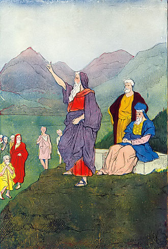 New Covenant - Moses Speaks to the Children of Israel (illustration from Hartwell James's The Boys of the Bible)
