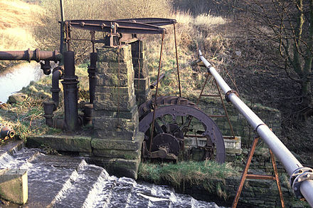 This Grade II listed beam engine once pumped water from the Irwell, to Mount Sion Mill Mount sion beam pump radcliffe.jpg