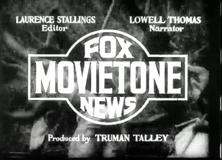 Carte de titre d'un film d'actualités Fox Movietone News de 1935