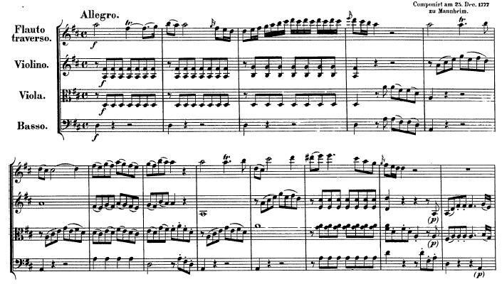 Música: Cuarteto para frauta (1777), de Wolfgang Amadeus Mozart.
